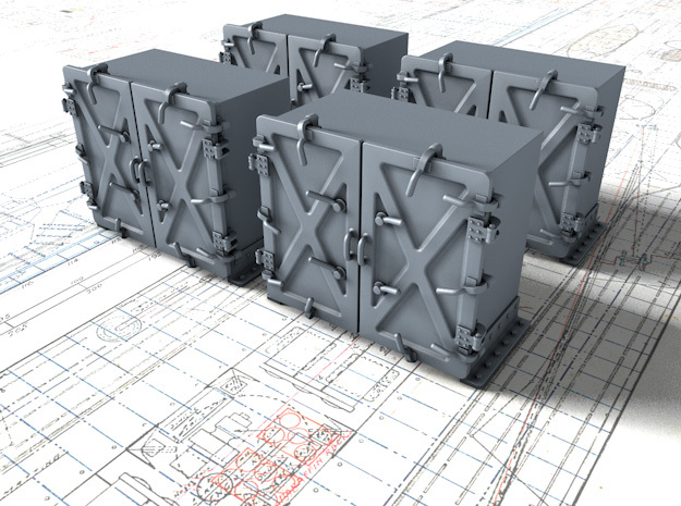 """1/35 Royal Navy 4"""" Ready Use Lockers (Med) x4 in Smooth Fine Detail Plastic"""