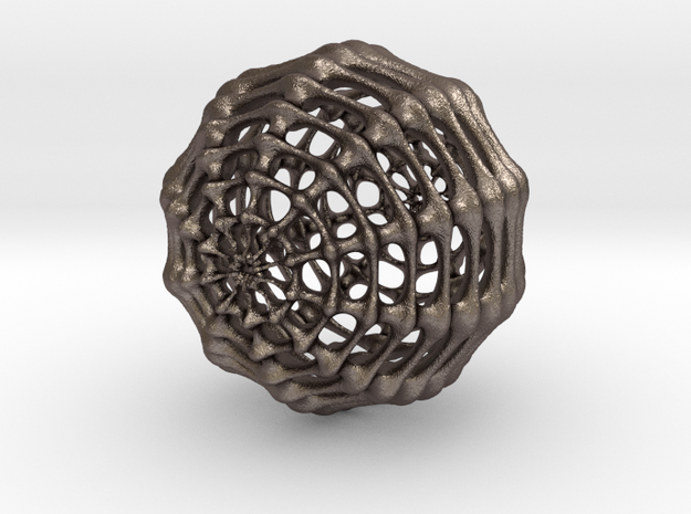 Skeletal Sphere in Polished Bronzed-Silver Steel