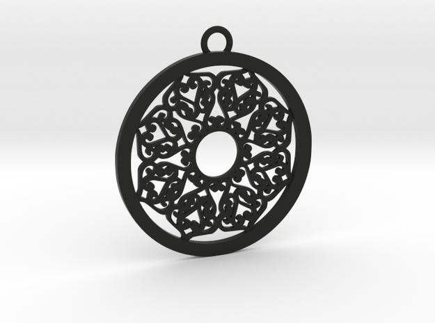 Ornamental pendant no.2 in Black Natural Versatile Plastic
