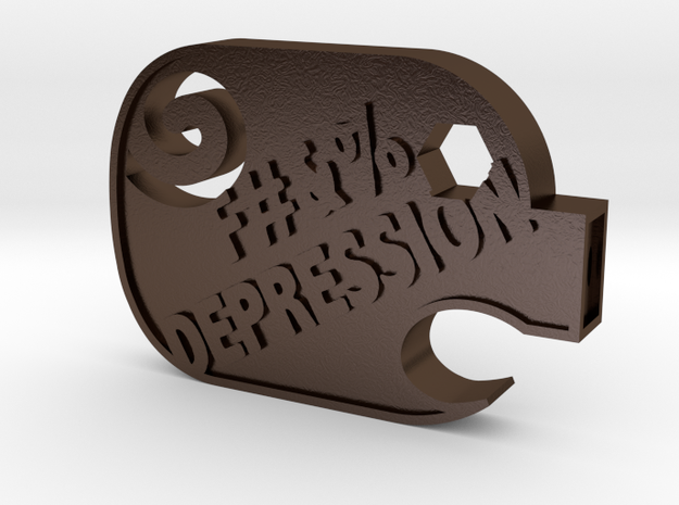 F#&%  Depression in Polished Bronze Steel