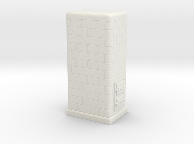 H0 Tiled coal-burning stove 1:87 (II) in White Natural Versatile Plastic