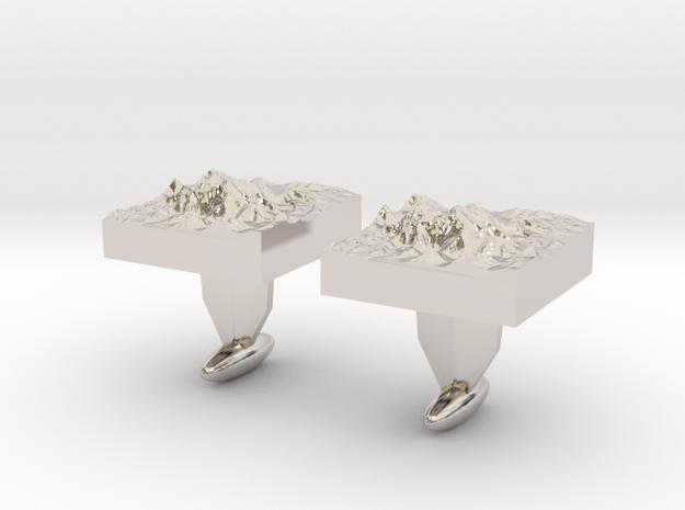Mt. Everest cuff links in Rhodium Plated Brass