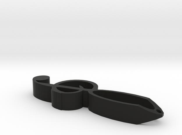 Fancy Treble Clef Keychain in Black Natural Versatile Plastic