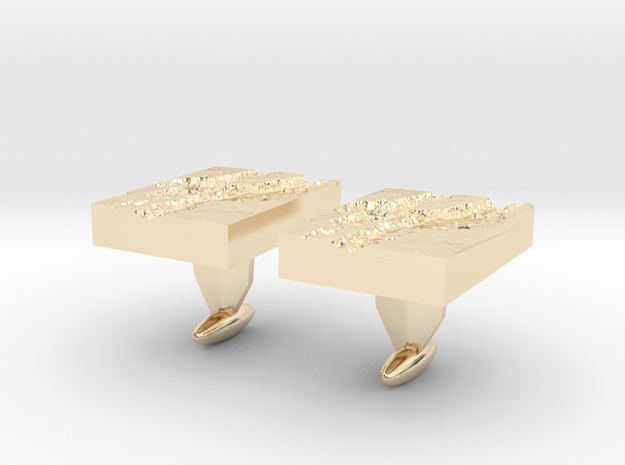 Valles Marineris Cuff links in 14k Gold Plated Brass