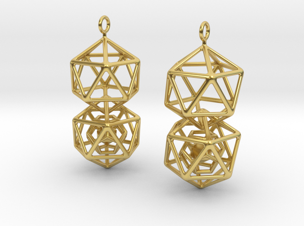 Icosahedron Dodecahedron Earrings in Polished Brass (Interlocking Parts)