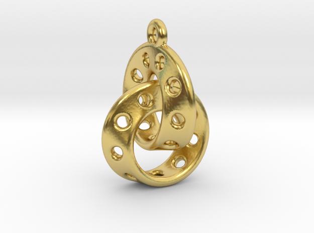 Möbius Band Earring Interlocked in Polished Brass (Interlocking Parts)