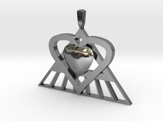 Pi Heart Medallion in Fine Detail Polished Silver: Medium