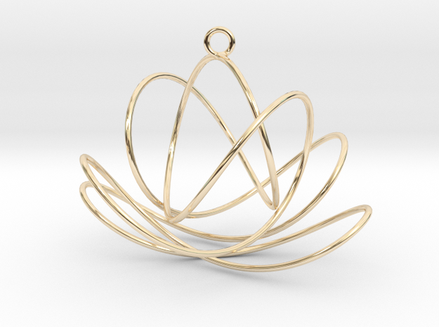 3D Spirograph projection erring 7 loops in 14k Gold Plated Brass