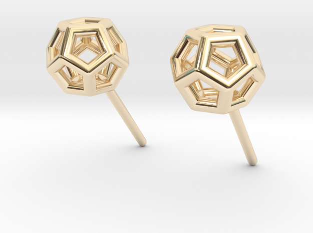 Simple Dodecahedron studs earrings in 14k Gold Plated Brass