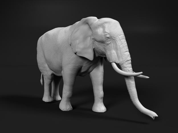 African Bush Elephant 1:48 Walking Female in White Natural Versatile Plastic