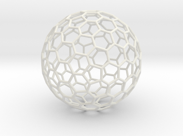 Goldberg polyhedron GP(2, 2) in White Natural Versatile Plastic: Extra Large