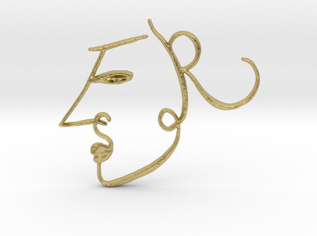 Haya Pendant 01 in Natural Brass