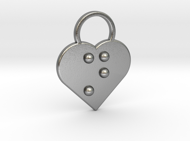 """""""n"""" Braille Heart in Natural Silver"""