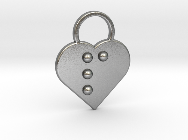 """""""p"""" Braille Heart in Natural Silver"""