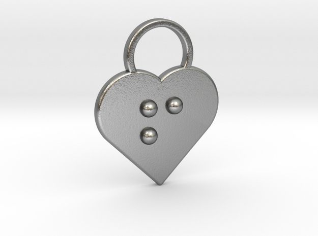 """""""f"""" Braille Heart in Natural Silver"""