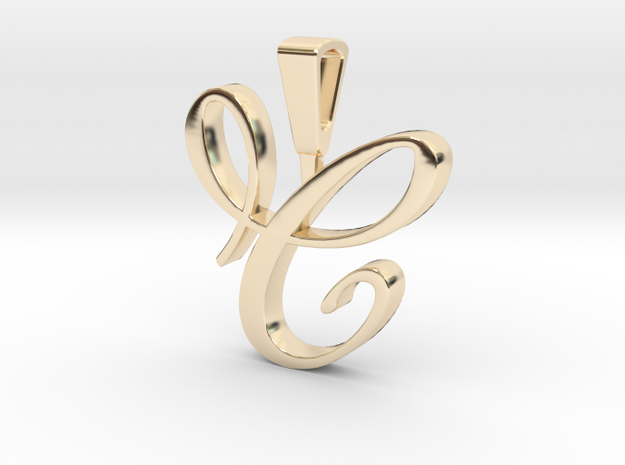 INITIAL PENDANT C in 14k Gold Plated Brass