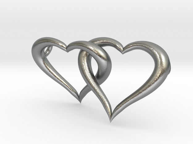 Interconnected Hearts Necklace in Natural Silver (Interlocking Parts)