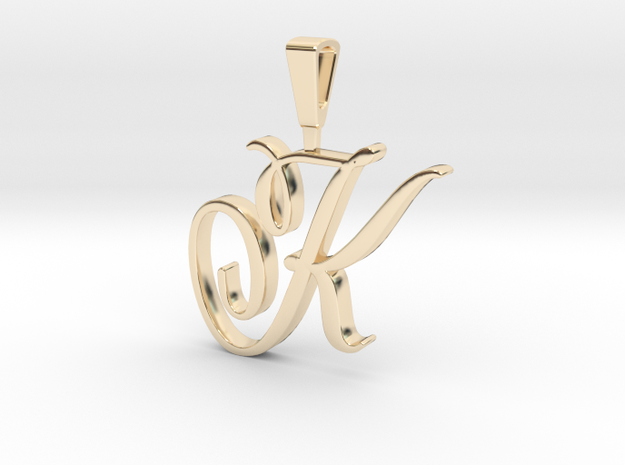 INITIAL PENDANT K in 14k Gold Plated Brass