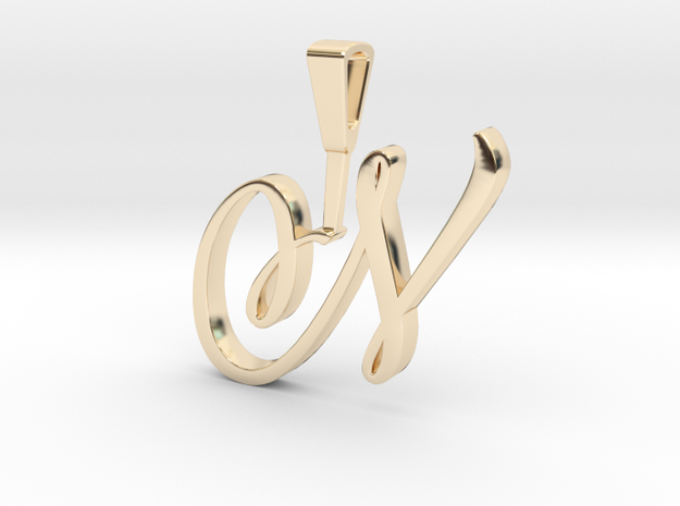 INITIAL PENDANT N in 14k Gold Plated Brass