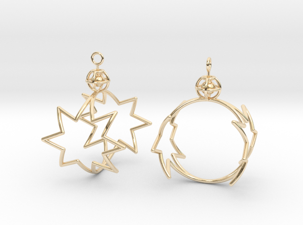 8-point star to circle earrings in 14k Gold Plated Brass
