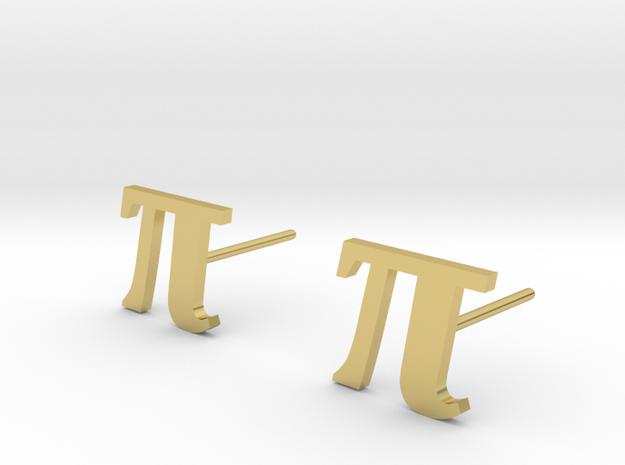 Pi stud earrings 10mm width. in Polished Brass