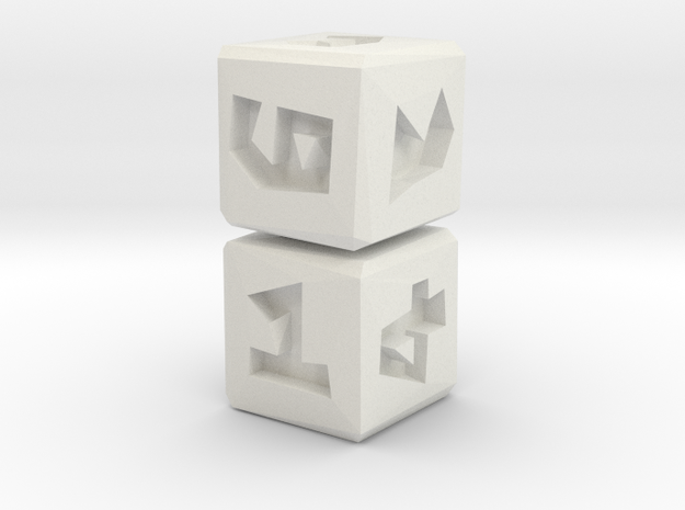 Low Poly Die .5 inch 2 pack in White Natural Versatile Plastic