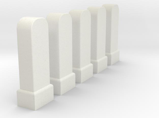 Hektometersteine Kilometersteine km 12,3 - km 12,7 in White Natural Versatile Plastic
