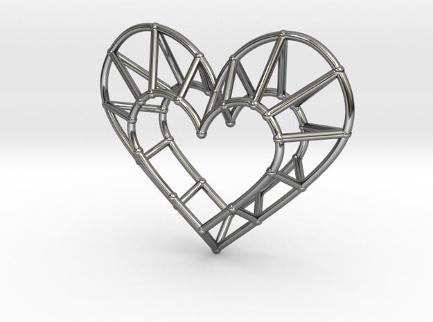 Minimalist Heart Pendant in Fine Detail Polished Silver