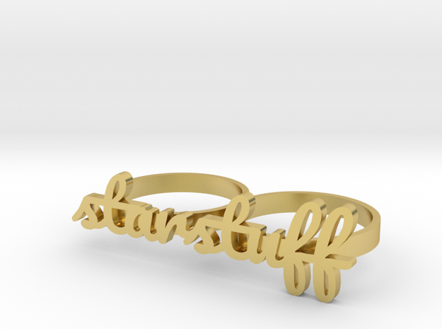 starstuff knuckle ring (size 9) in Polished Brass
