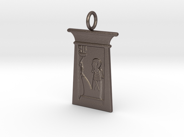 Enshrined Ptah amulet in Polished Bronzed-Silver Steel