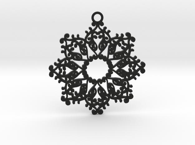 Ornamental pendant no.4 in Black Natural Versatile Plastic