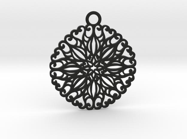 Ornamental pendant no.5 in Black Natural Versatile Plastic