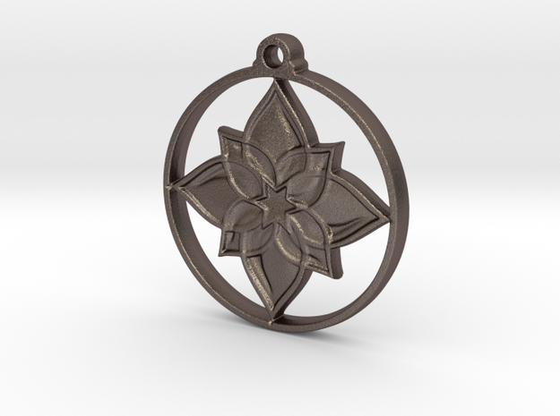 Lotus IV Pendant in Polished Bronzed-Silver Steel