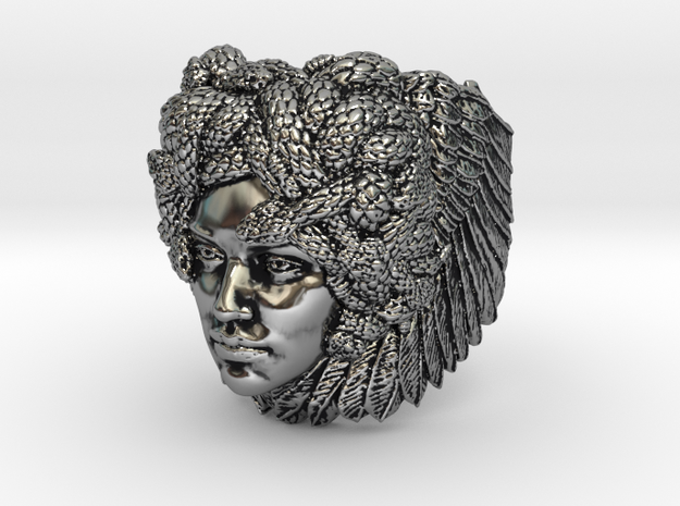 Silver, Bronze, Brass or Gold Plated Ring - Medusa