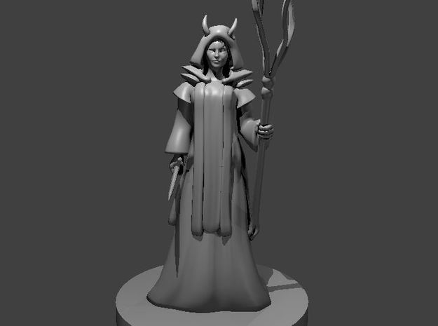 Tiefling Wizard with Robes and Tentacle Staff in Smooth Fine Detail Plastic