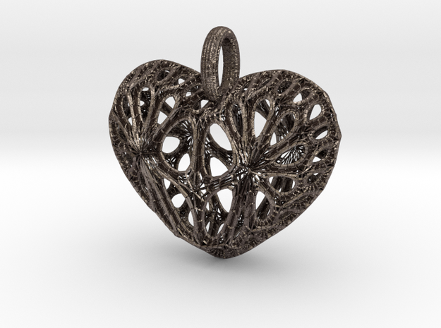 Heart Pendant in Polished Bronzed-Silver Steel