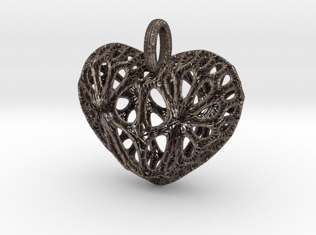 Heart Pendant in Polished Bronzed-Silver Steel
