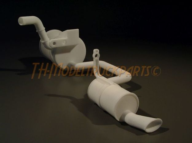 THM 00.5201 Exhaust pipe left Tamiya Volvo FH12 in White Processed Versatile Plastic