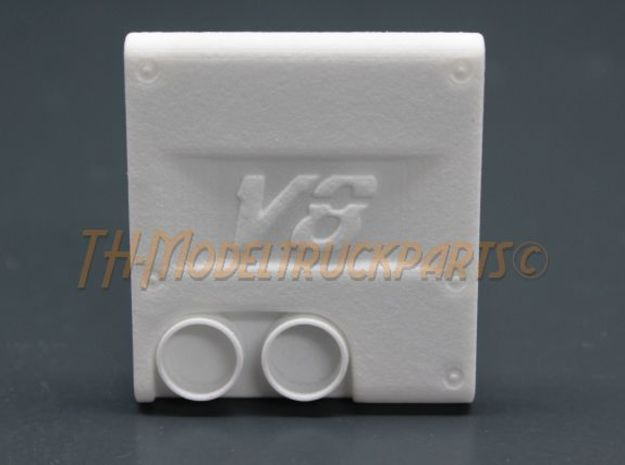 THM 00.2201 Exhaust cover Tamiya MAN V8 in White Processed Versatile Plastic