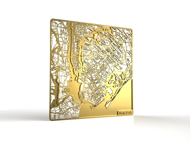 New York in 18k Gold Plated Brass