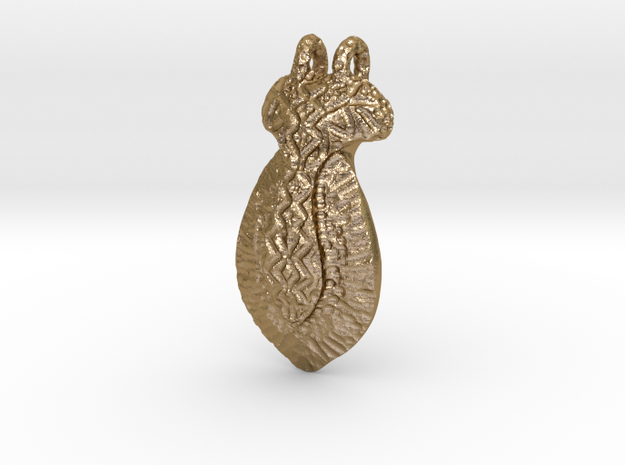 Hand Sculpted Pendant - Worked Metal Appearance in Polished Gold Steel