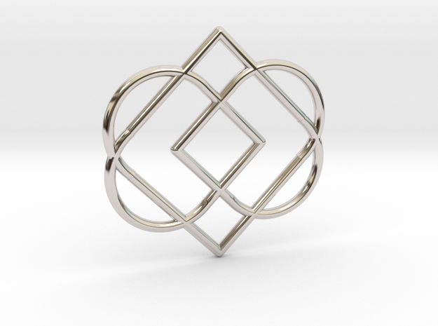 Duble Heart in Rhodium Plated Brass
