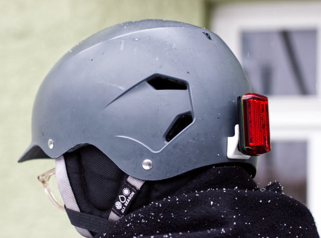 Clip-on Light Mount - compatible with Bern helmets in White Processed Versatile Plastic