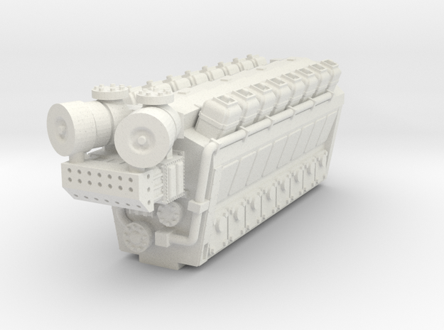 Industrial Engine 16cyl N Scale in White Natural Versatile Plastic