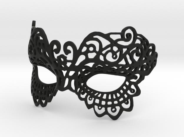 Masquerade Mask in Black Natural Versatile Plastic