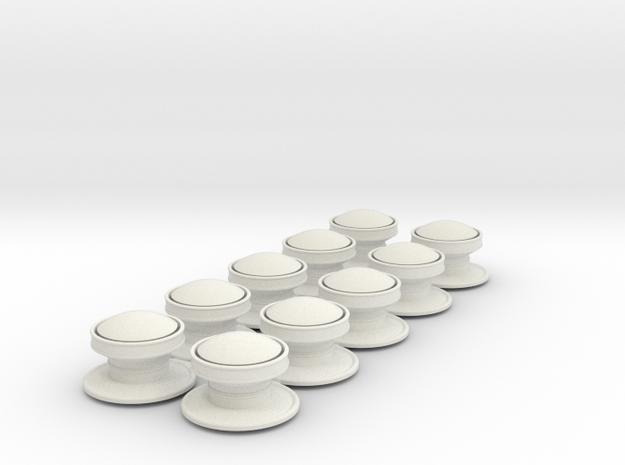 10 x 1.125 inch scale NSWGR Standard Ventilators in White Natural Versatile Plastic