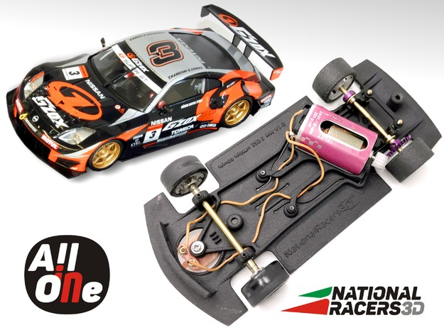 Chassis - NINCO Nissan 350Z (Anglewinder-AiO) in Black Natural Versatile Plastic