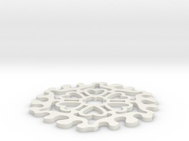 Drink Coaster - Jigsaw Interlocking- Heart Pattern in White Natural Versatile Plastic