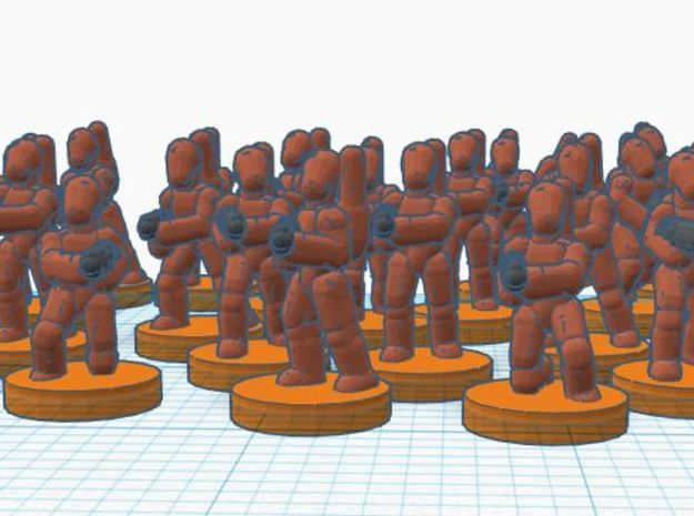 6mm B1 Battle Bots Platoon (X60 Bots) in Smooth Fine Detail Plastic