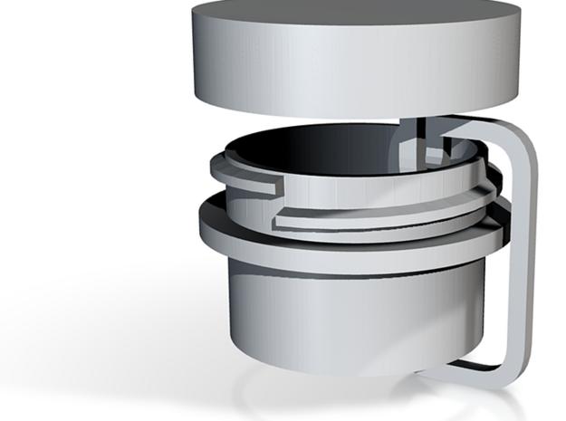 Bulkhead Feedthrough - screw cap looped together in White Natural Versatile Plastic